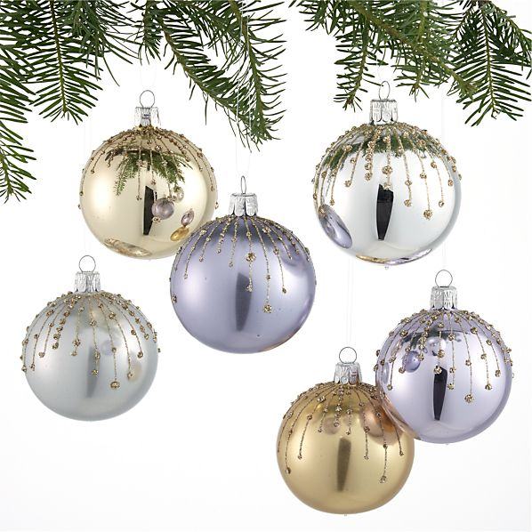 Set of 6 Glitter Drip Ball Ornaments