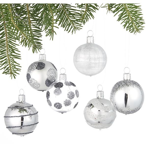 Set of 6 Glitter Design Silver Ball Ornaments