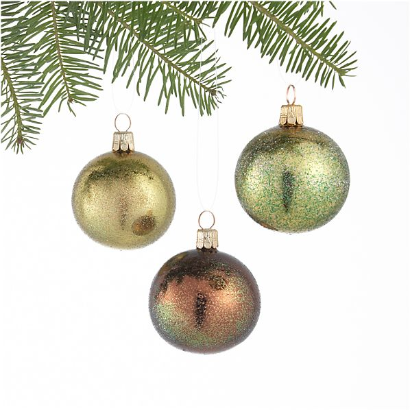 Set of 3 Glitter Dust Tonal Green Ball Ornaments
