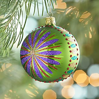 Glitter Flower Green Ball Ornament