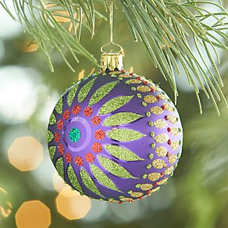 Glitter Flower Purple Ball Ornament