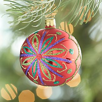 Glitter Flower Red Ball Ornament