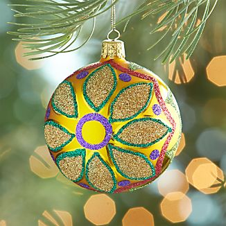 Glitter Flower Yellow Ball Ornament