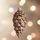 Bronze Glitter Glass Pinecone Ornament