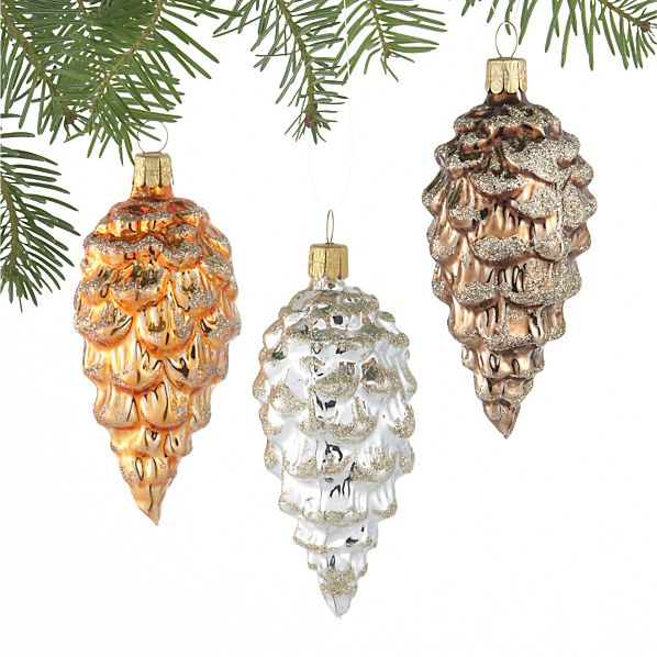 Set of 3 Glitter Glass Pinecone Ornaments