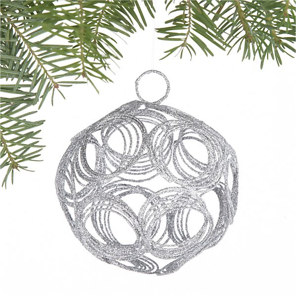 Glitter Hoop Silver Ball Ornament