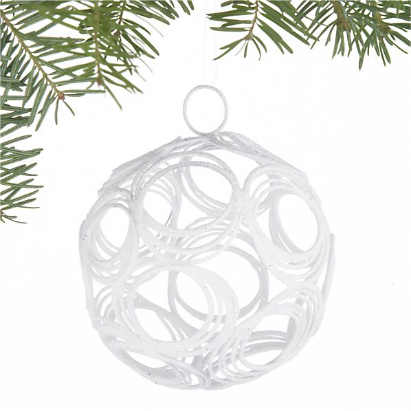 Glitter Hoop White Ball Ornament
