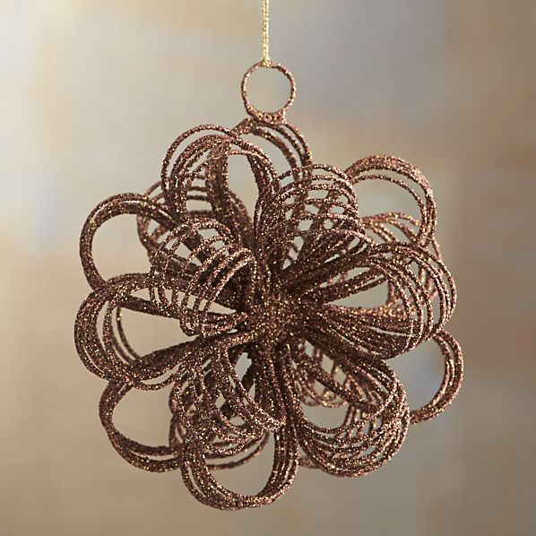 Bronze Glitter Loop Burst Ornament
