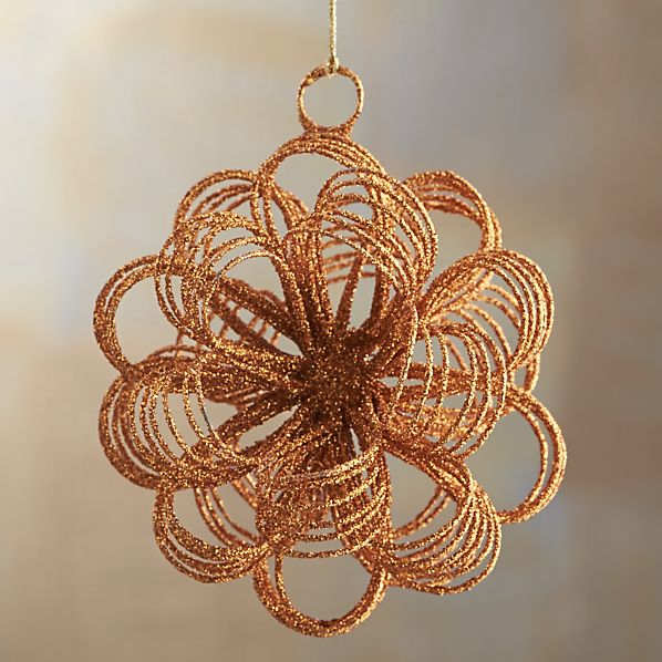 Copper Glitter Loop Burst Ornament