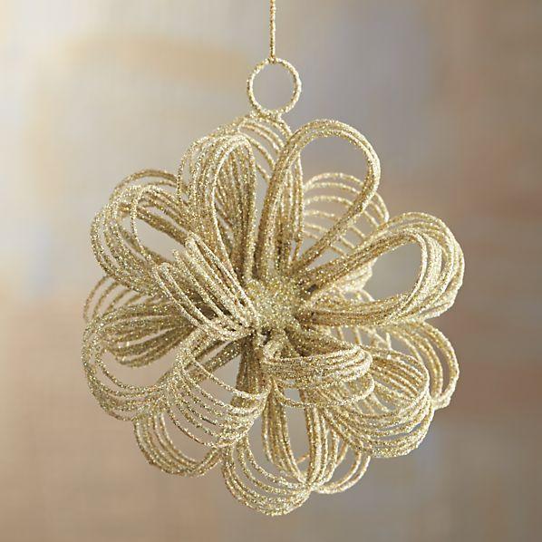 Gold Glitter Loop Burst Ornament
