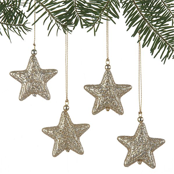 Set of 4 Glitter Star Gold Ornaments