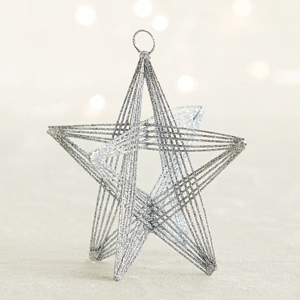 Silver Glitter Wire Star Ornament