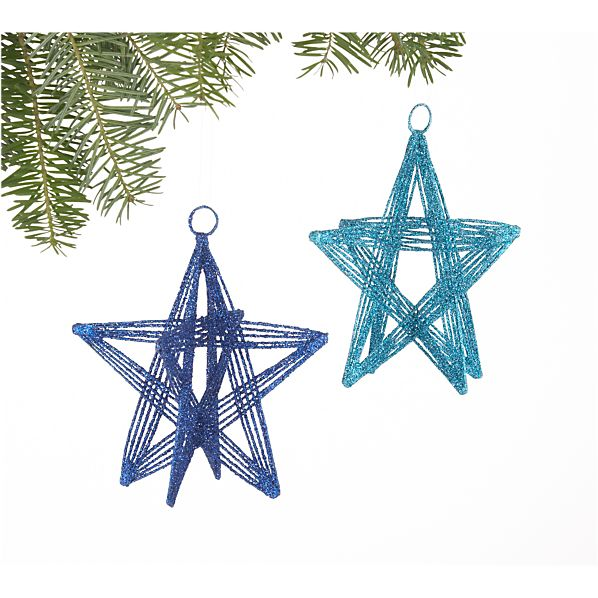 Set of 2 Blue Glitter Wire Star Ornaments