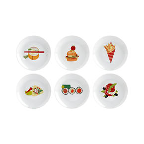 Set of 6 Global Bites 6.75 Appetizer Plates