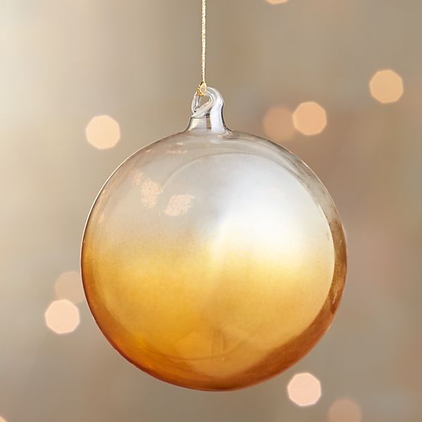Yellow Global Dip Dyed Ball Ornament