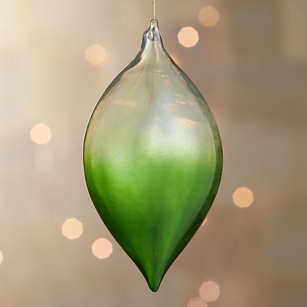 Green Global Dip Dyed Drop Ornament