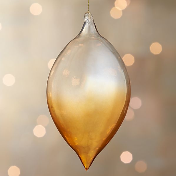 Yellow Global Dip Dyed Drop Ornament