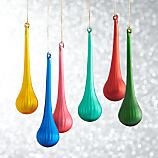 Set of 6 Global Faceted Drop Ornaments