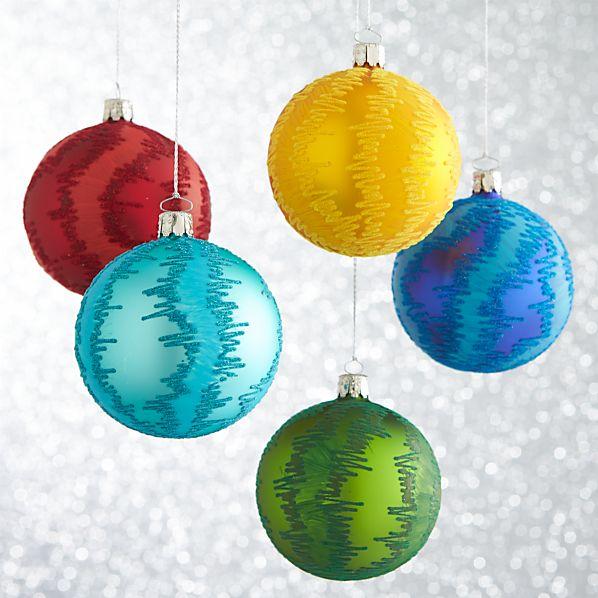 Global Flocked Glitter Ball Ornaments