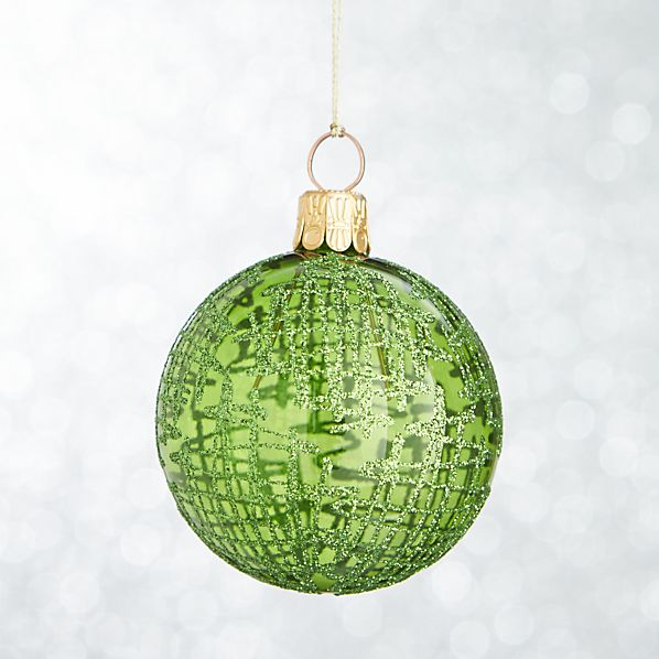 Green Global Glitter Line Ball Ornament