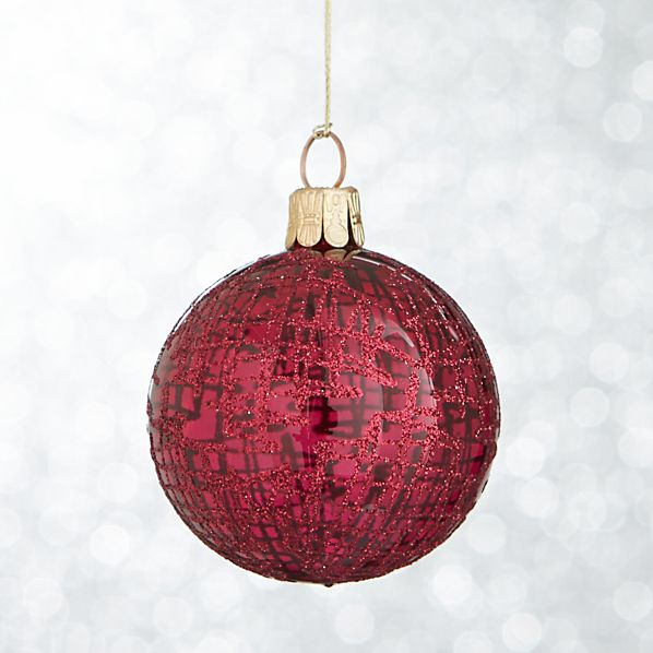 Hot Pink Global Glitter Line Ball Ornament