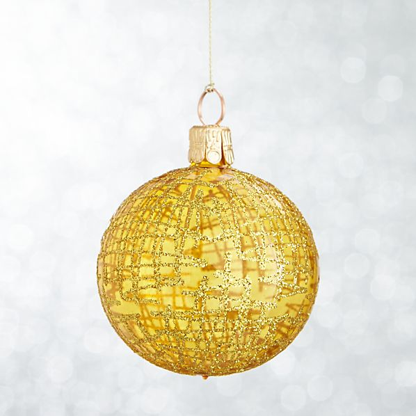 Yellow Global Glitter Line Ball Ornament