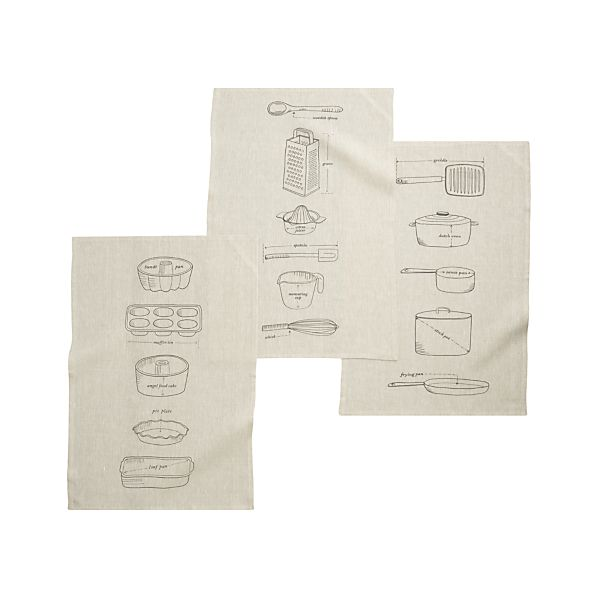 Set of 3 Gourmet Blueprints Dishtowels