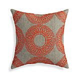"Gracie Orange 18"" Pillow with Feather-Down Insert"