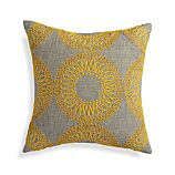 "Gracie Yellow 18"" Pillow with Feather-Down Insert"