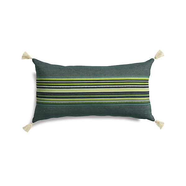 "Grady Green 24""x12"" Pillow with Down-Alternative Insert"