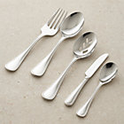 Grand Hotel II 5-Piece Serving Set: cold meat fork, serving spoon, pierced serving spoon, butter knife, sugar spoon.
