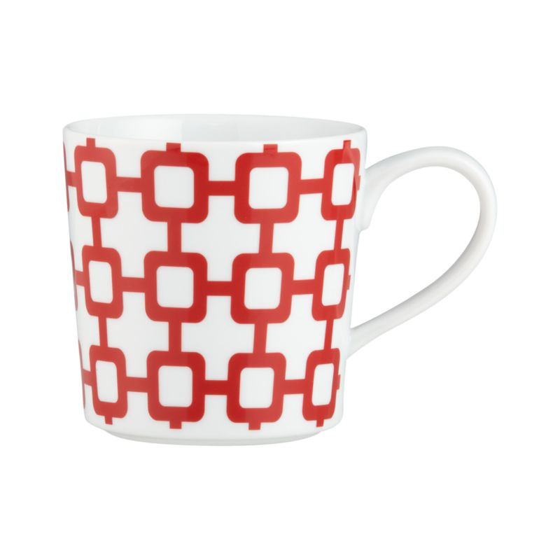 Bold red design on a contemporary white porcelain mug adds graphic punch to your pick-me-up.<br /><br /><NEWTAG/><ul><li>Porcelain</li><li>Dishwasher-, microwave-, freezer- and oven-safe to 395 degrees</li><li>Made in China</li></ul>