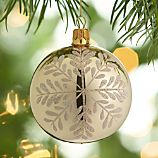 Graphic Snowflake Gold Ball Ornament