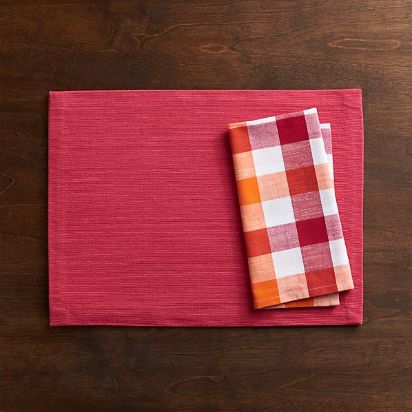 Grasscloth Azalea Placemat and Gingham Red-Orange Napkin