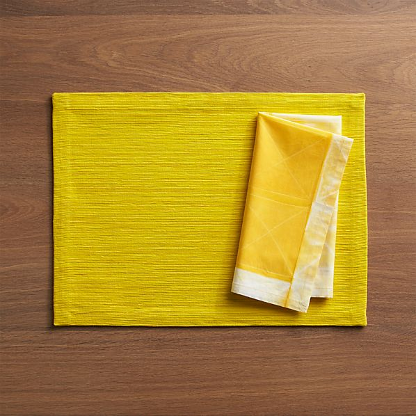 Grasscloth Maize Placemat and Shibori Yellow Napkin