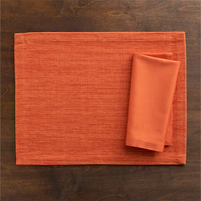 Grasscloth Tiger Lily Placemat and Cotton Tiger Lily Napkin