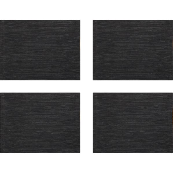 Set of 4 Grasscloth Black Placemats