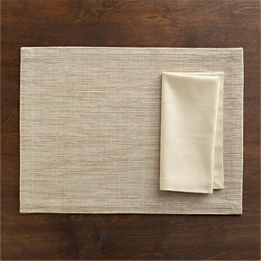 Grasscloth Neutral Placemat and Cotton Ecru Napkin