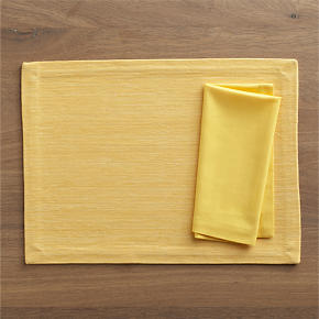 Grasscloth Daffodil Placemat and Cotton Daffodil Napkin