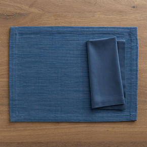 Grasscloth Smoky Blue Placemat with Cotton Smoky Blue Napkin