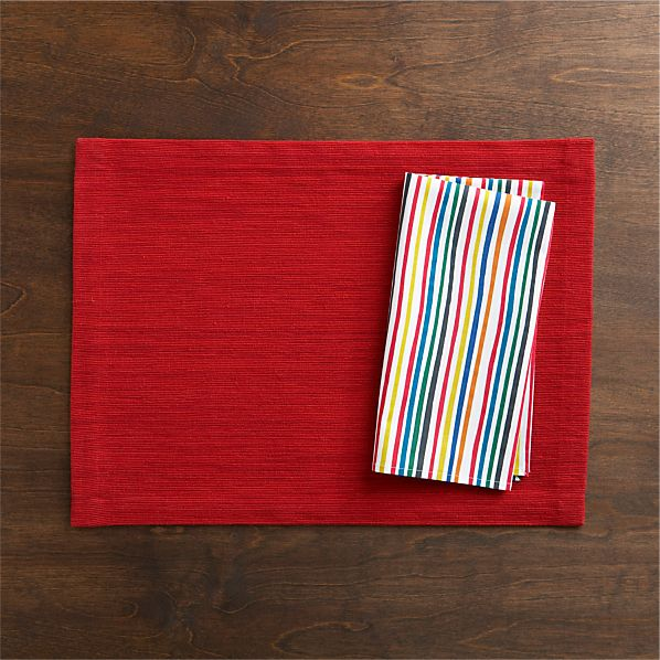 Grasscloth Ruby Placemat and Vibe Stripe Napkin