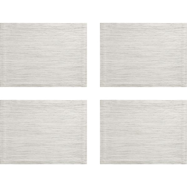 Set of 4 Grasscloth White Placemats