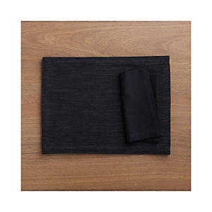 Grasscloth Black Placemat and Fete Black Cotton Napkin
