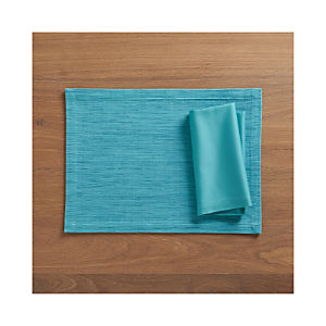 Grasscloth Aqua Placemat and Fete Aqua Cotton Napkin