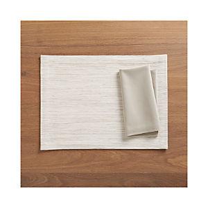 Grasscloth White Placemat and Fete Dove Cotton Napkin
