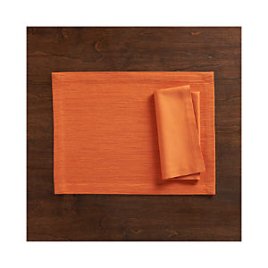 Grasscloth Pumpkin Placemat and Fete Pumpkin Cotton Napkin