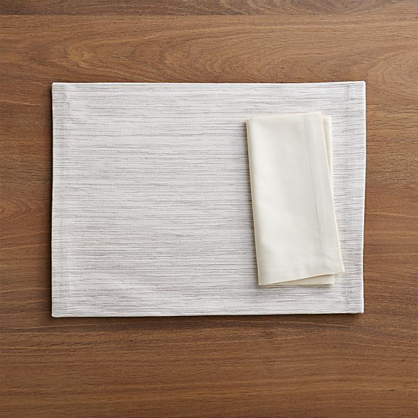 Grasscloth White Placemat and Fete Vanilla Cotton Napkin