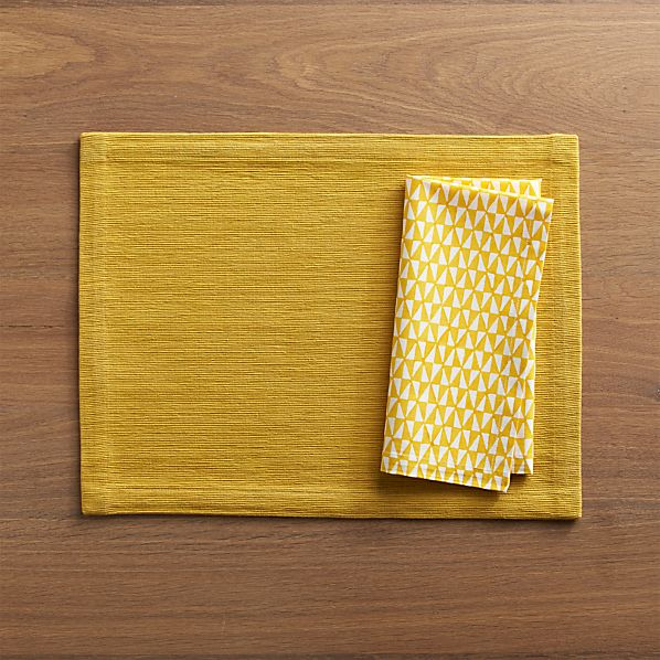 Grasscloth Mustard Placemat and Leti Block Print Napkin