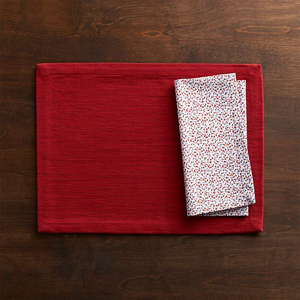 Grasscloth Ruby Placemat and Confetti Napkin