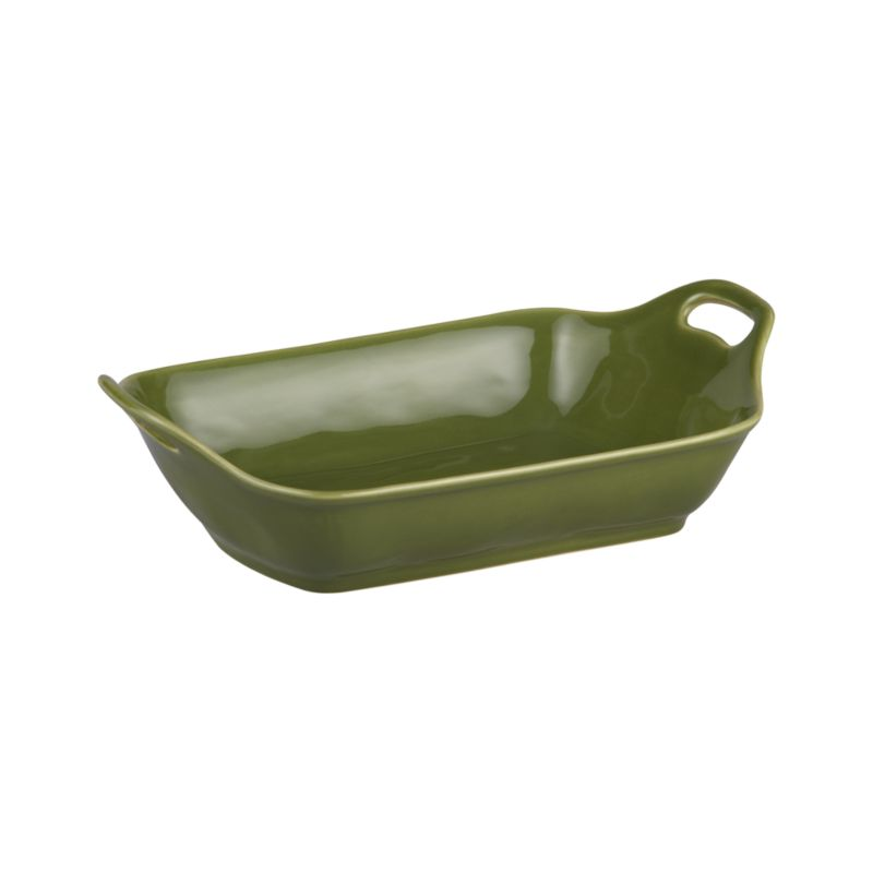 Charming oven-to-table baker shapes up in a flared, rounded rectangle with raised cutout handles and a versatile rich green glaze.<br /><br /><NEWTAG/><ul><li>Stoneware</li><li>Dishwasher-, microwave and oven-safe to 480 degrees</li><li>Made in Portugal</li></ul>